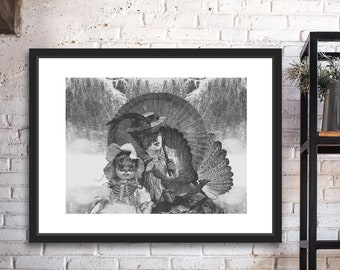 They Smell Of Farewell Black and White Digital Collage Giclee Art Print