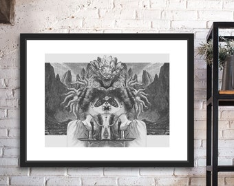 Ishtar Black and White Digital Collage Giclee Art Print