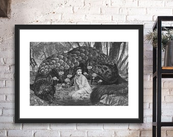 The Sin Eater Black and White Digital Collage Giclee Art Print