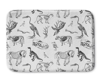 Animal Skeletons White Bath Mat