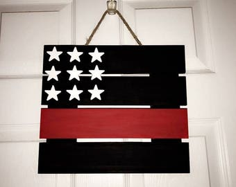Thin Red Line Fire Fighter Flag