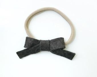 Dark Brown Felt Bow. Soft Neutral Bow. Newborn Baby Infant Toddler Girl Bow. Nylon Headband. Photography Prop