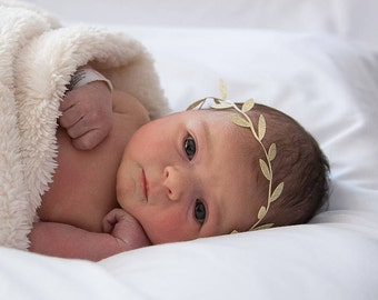 Charlotte Headband ~ GOLD Leaf Baby Crown. BEIGE Leaf Baby Crown. Newborn Infant Toddler Child Heaband Photo Prop. Baby Crown headband