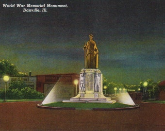 Antique Linen Postcard, Vintage Postcard, World War Memorial Monument, Danville Illinois, Unused Postcard, Ephemera, Historical Postcard