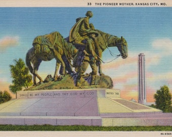 Antique Linen Postcard, Vintage Postcard, Ephemera, The Pioneer Mother Monument, Kansas City Missouri, Memorials, Historical Postcards