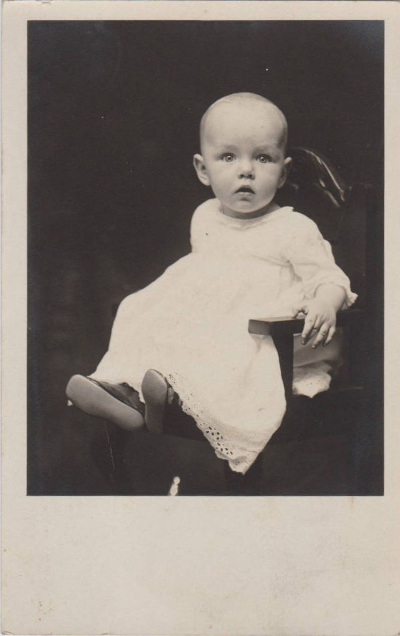 Antique black and white baby photograph postcard vintage photo postcard old photograph old pictures baby portrait ephemera