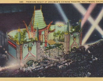 Antique Linen Postcard of the Premiere Night at Grauman's Chinese Theatre, Hollywood California, Historical Postcard, Ephemera, Legendary