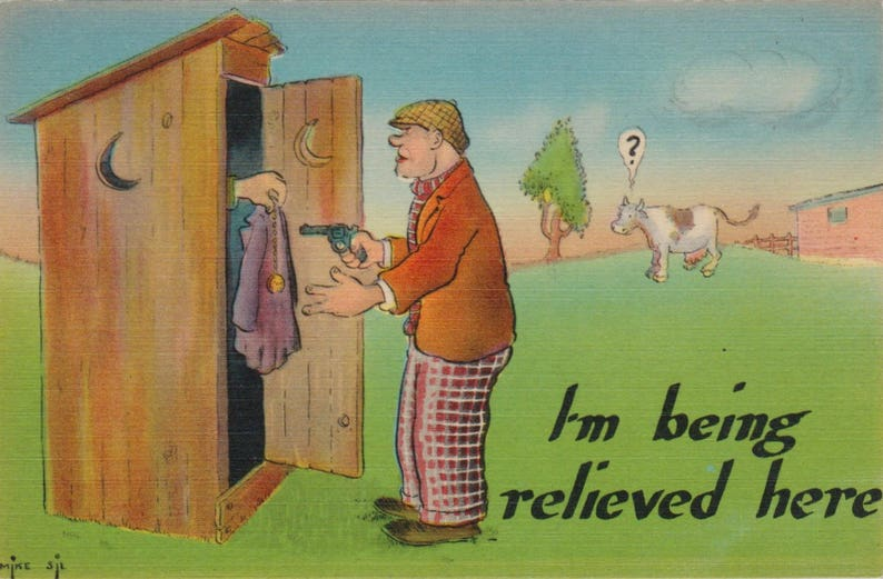 Super Vintage Funny Outhouse Postcard Vintage Humorous Postcard Funny Bathroom Humor Postcard Scrapbooking Collage Postcrossing Download Free Architecture Designs Itiscsunscenecom