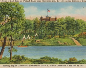 Antique Linen Postcard of Early Scene at Fort Knox on Wabash River Near Vincennes Indiana, Indian Stamping Grounds, Historical Postcard