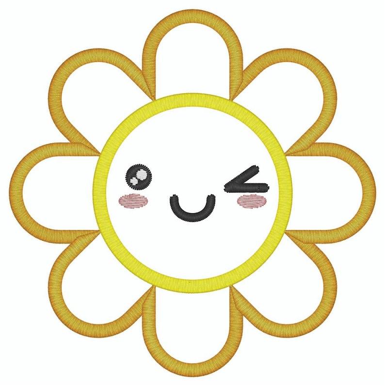 6x10 3 sizes 5x7 Sun Flower Applique Sunshine Embroidery Design  4x4 Summer Machine Embroidery Applique Design
