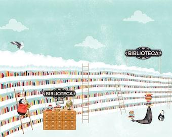 Plume: Biblioteca Giclée Print