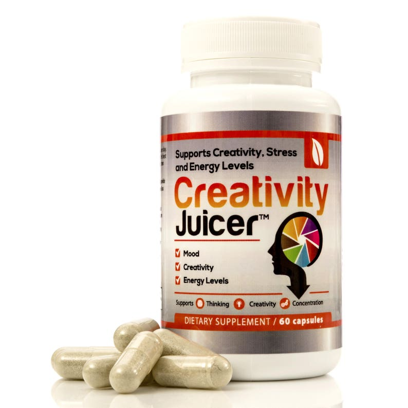 Creativity Juicer: Herbal Formula for Stress Relief, Focus, Productivity  Gotu Kola Ginseng Valerian Passionflower Oat Straw (1-Month Supply)