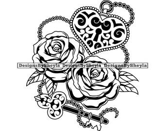 ab4a4897a7f1e Tattoo Heart Lock Key Flowers Art Artistic Beautiful .SVG .EPS .PNG Vector  Clipart Cricut Cut Cutting