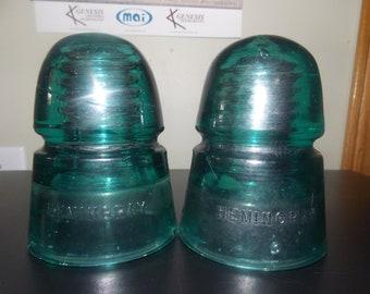 2 Hemingray blue tinted insulators
