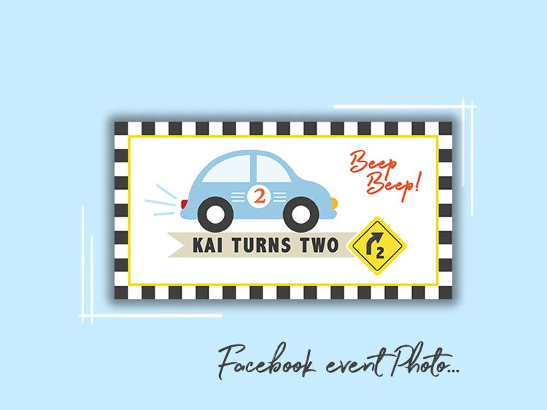 Car Facebook Cover Photo For Boys Birthday Facebook Event Etsy