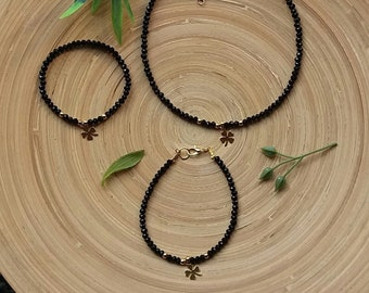Clover jewelry set - Black bracelet and necklace jewellery set - Necklace and bracelet set - Jewellery set black - Black jewellery