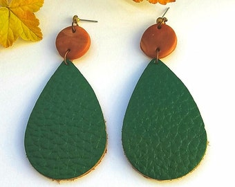 Leather earrings - Forest Green Leather Earrings - Green Earrings  - birthday gift for sister - anniversary gift for wife