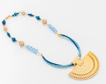 Pre-Columbian style necklace, Pre Columbian jewelry, Statement Necklace, Blue Necklace
