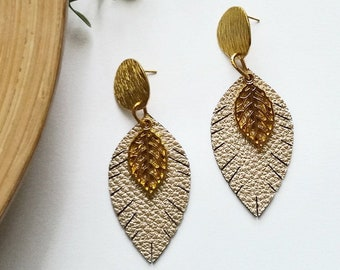 Leather earrings, Leaf Earrings, Earrings leather, Leaf leather earrings, Gift for her