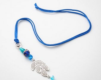 Blue Necklace, leather necklace bohemian, Bohemian Jewelry Boho Necklace Long Layered Necklace For Women