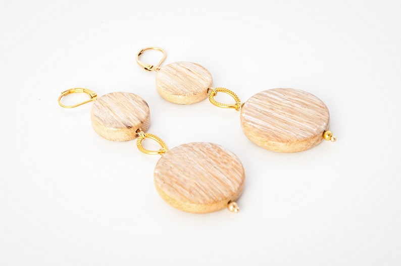 Wooden Earrings  Lightweight earrings  Geometric wood image 0
