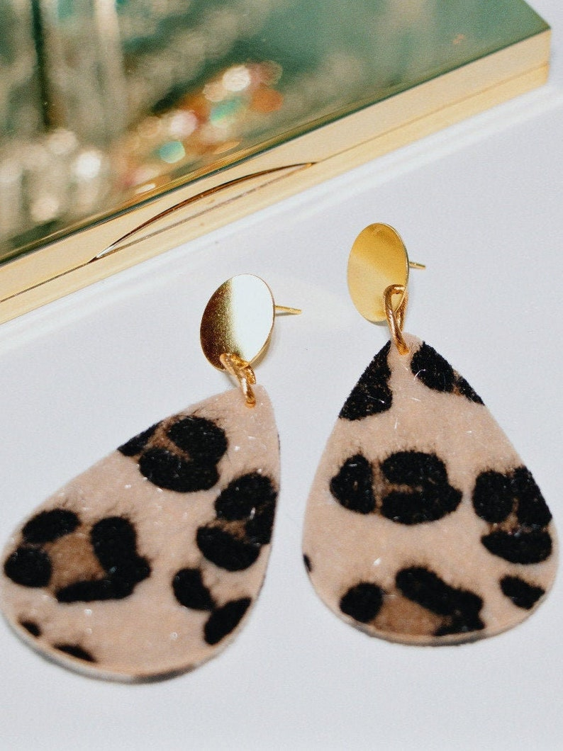 Earrings panther print Leopard Print Jewelry Animal Print image 0