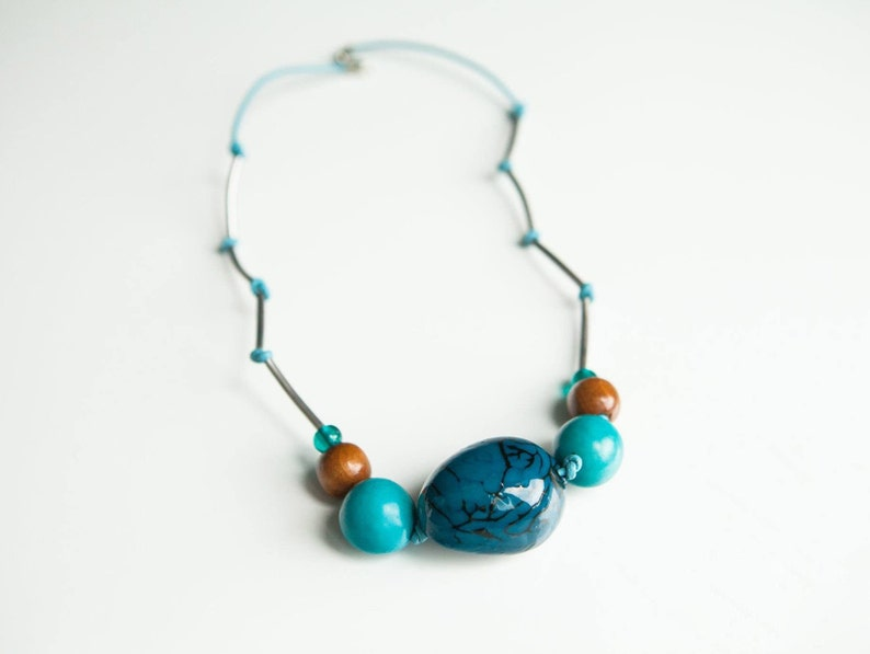 Blue Tagua Necklace Vegetable Ivory Necklace Tagua Necklace image 0