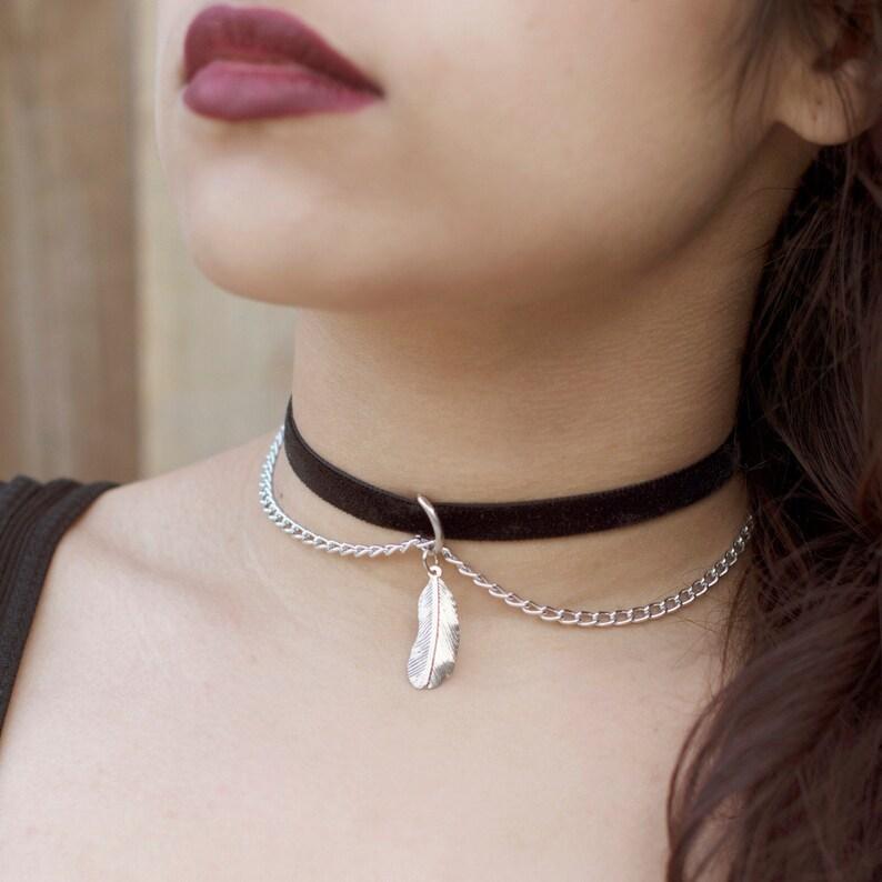 Black choker necklace Black Choker Velvet Ribbon Choker image 0