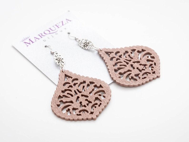 Wooden earrings modern wood earrings geometric wood laser image 0