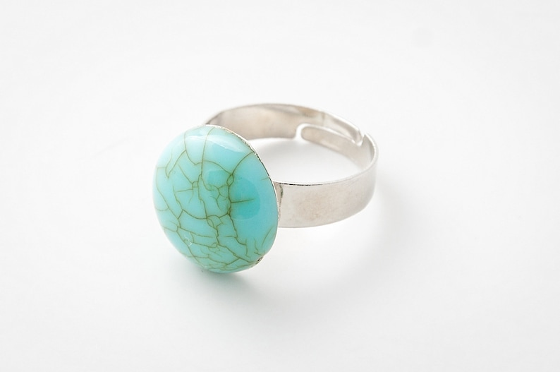 Turquoise Cabochon Ring Adjustable Ring Dress Ring Blue image 0