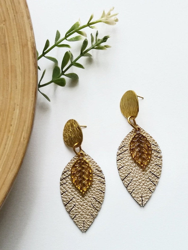 Leather earringsLeaf Earrings Earrings leather Leaf leather image 0
