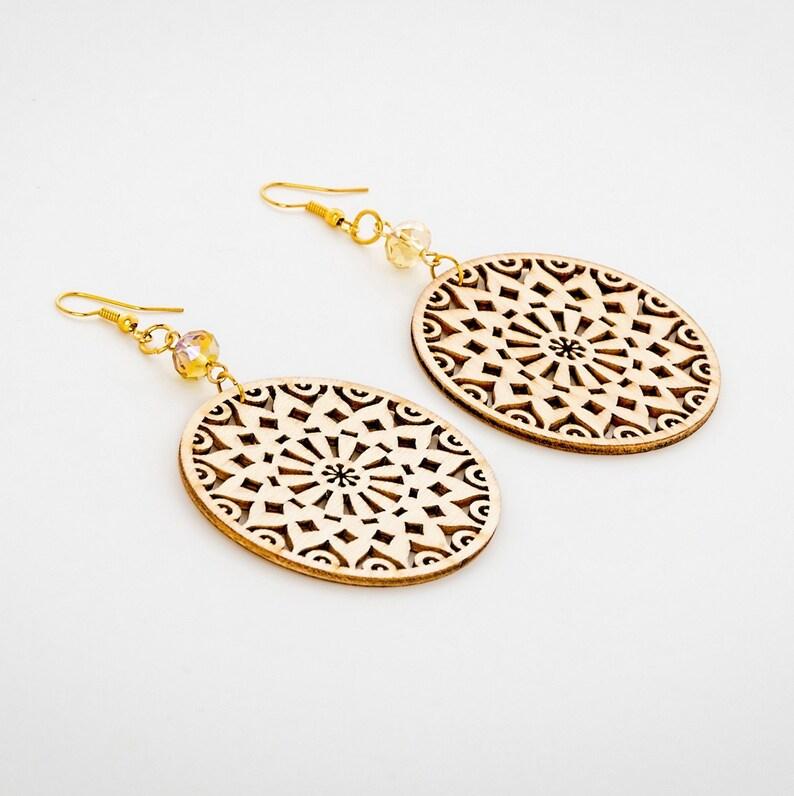 Wooden earrings Earrings for women Boho earrings Wood image 0