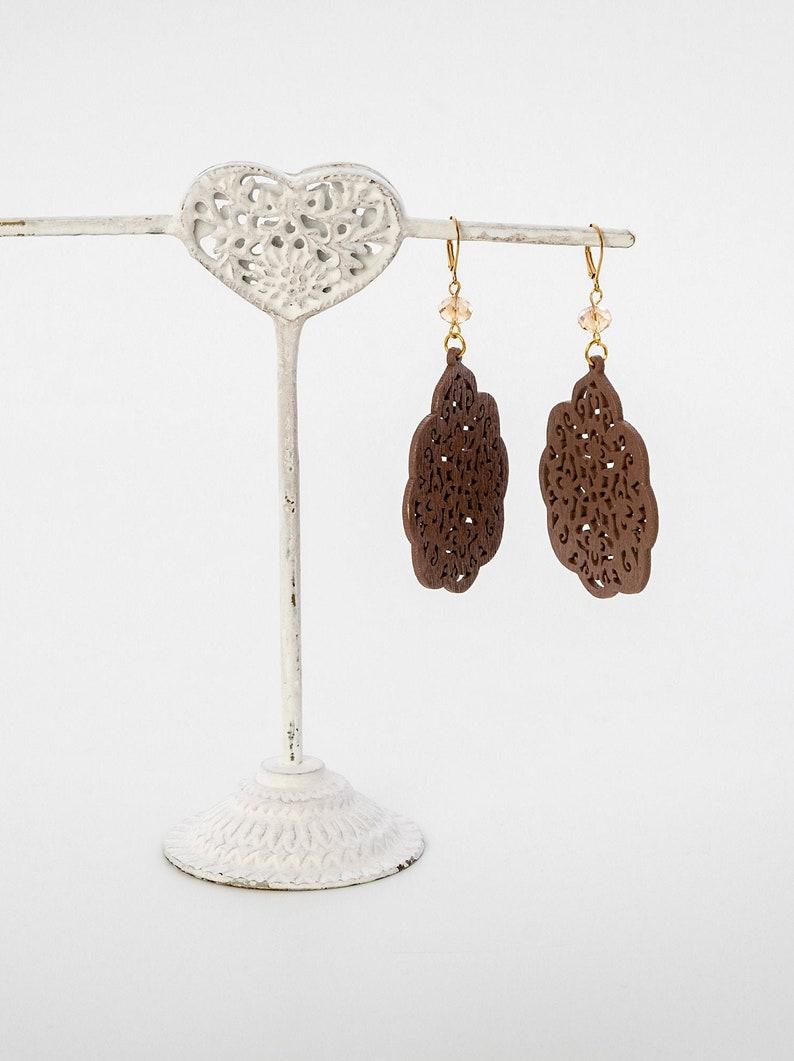 Wooden earrings Long earrings Brown wood Hippie jewelry image 0