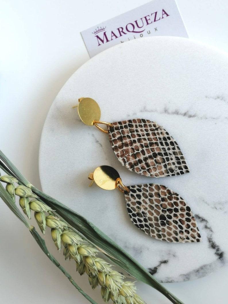 Leather earrings earrings leather leaf leather earrings image 0