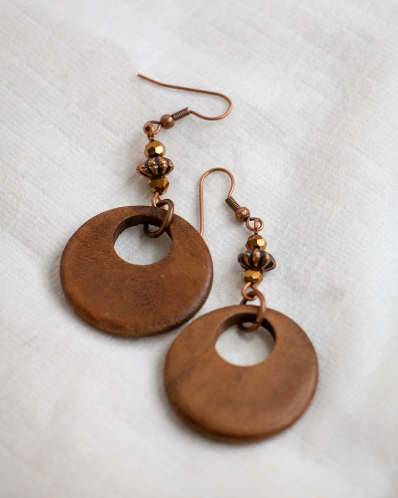 Wooden earrings Large light brown Colored wood Hippie image 0