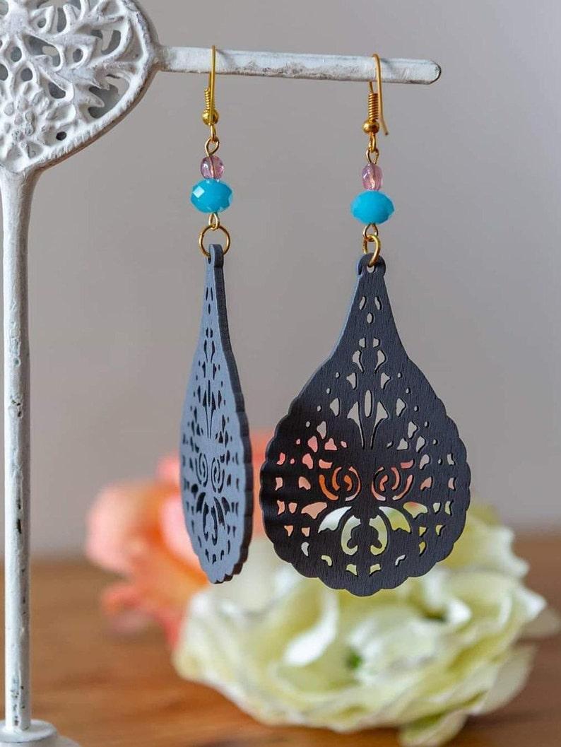 Wooden earrings large Colored wood Ethnic earrings Earrings image 0