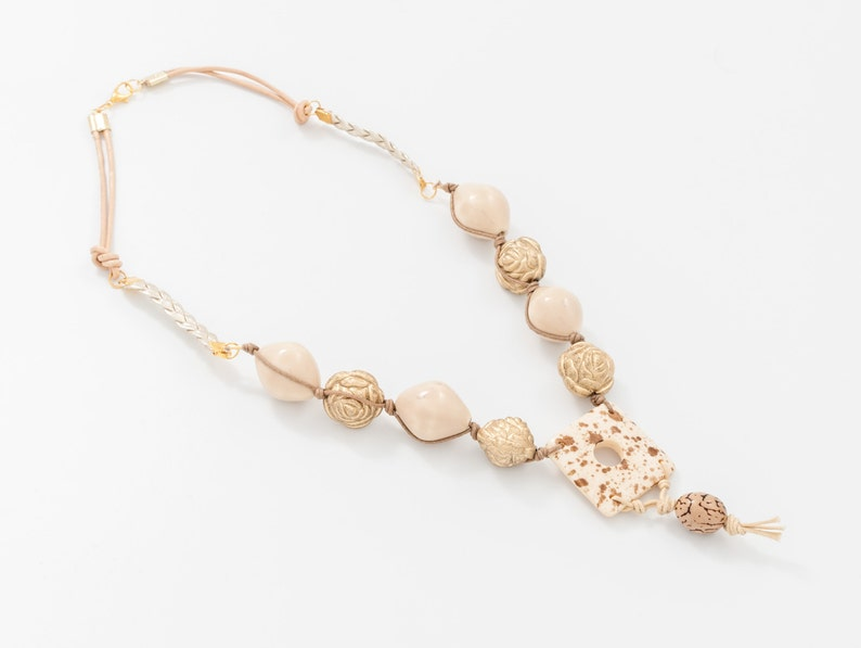 Beige Necklace Jewelry Gift for wife Ivory necklace image 0