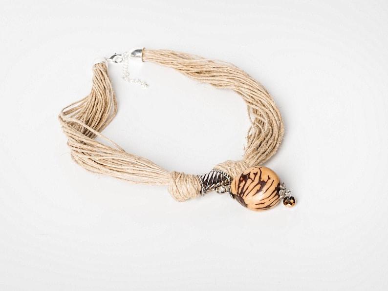 Tagua necklace pendant jute bohemian necklace jute rope image 0
