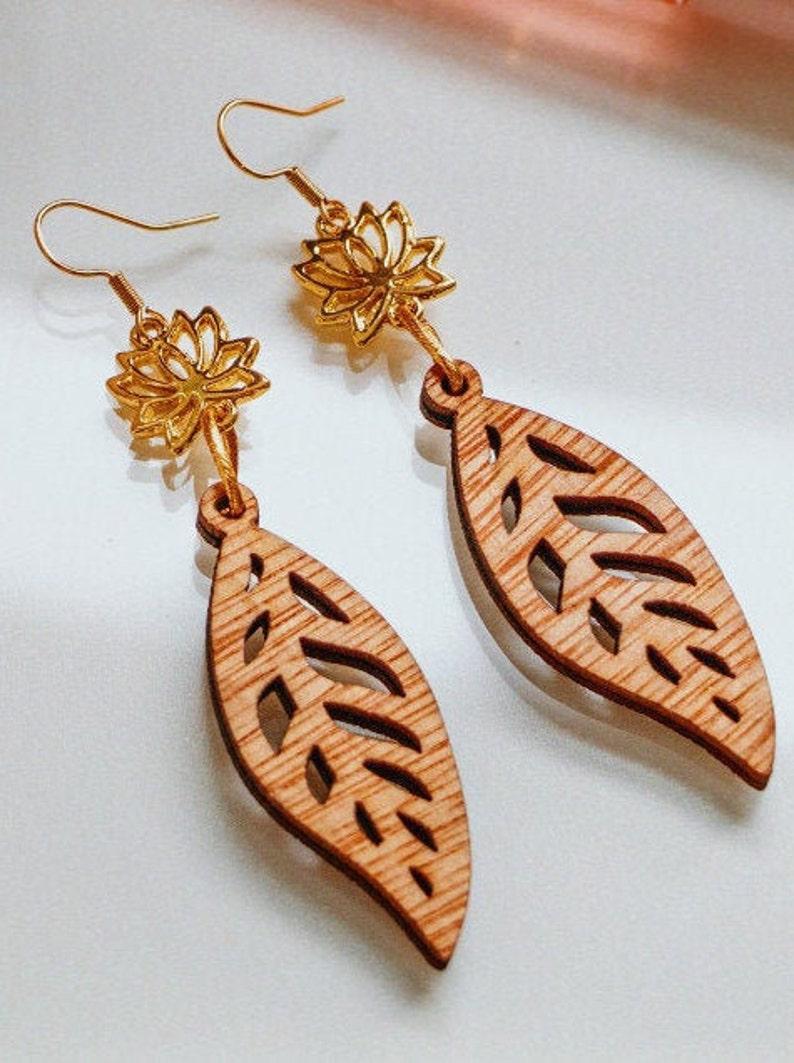 Wooden Earrings Wooden Leaf Earrings Leaf Earrings image 0