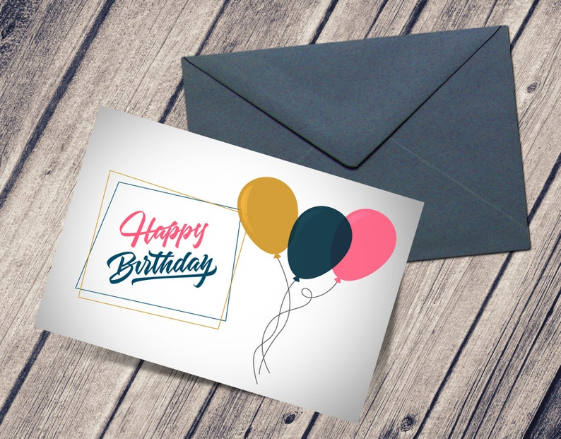 Printable Birthday Card For Her Happy Balloons PDF