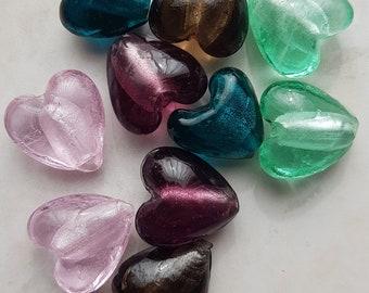 Set of 10 lampwork hearts