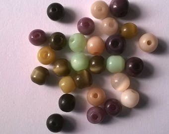 Set of 42 multicolored 6mm round beads