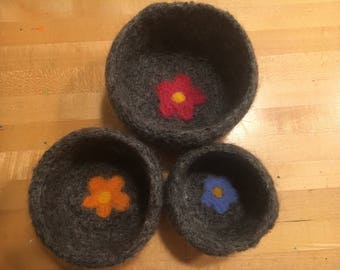 Nested Felted Wool Bowl Set