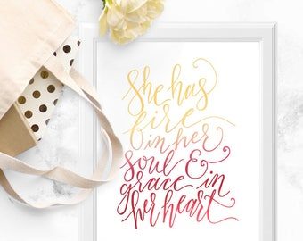 Fire in Her Soul Boss Babe Calligraphy Print, Good Vibes Only, Words of Wisdom Poster #girlboss