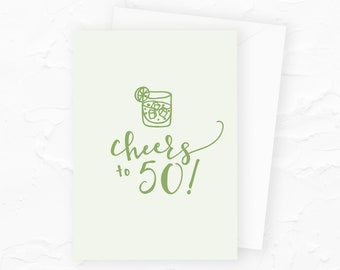 Happy 50th Birthday, 50th Birthday Card, Cheers to 50, Personalized Happy Birthday Cards