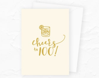 100th Birthday Card, Happy 100th Birthday, Cheers to 100, Personalized Happy Birthday Cards