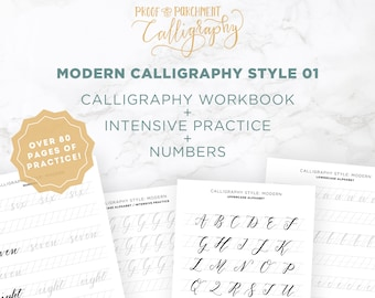 Modern Calligraphy Letters Practice Worksheets, Modern Calligraphy Sheets, Learn Hand Lettering
