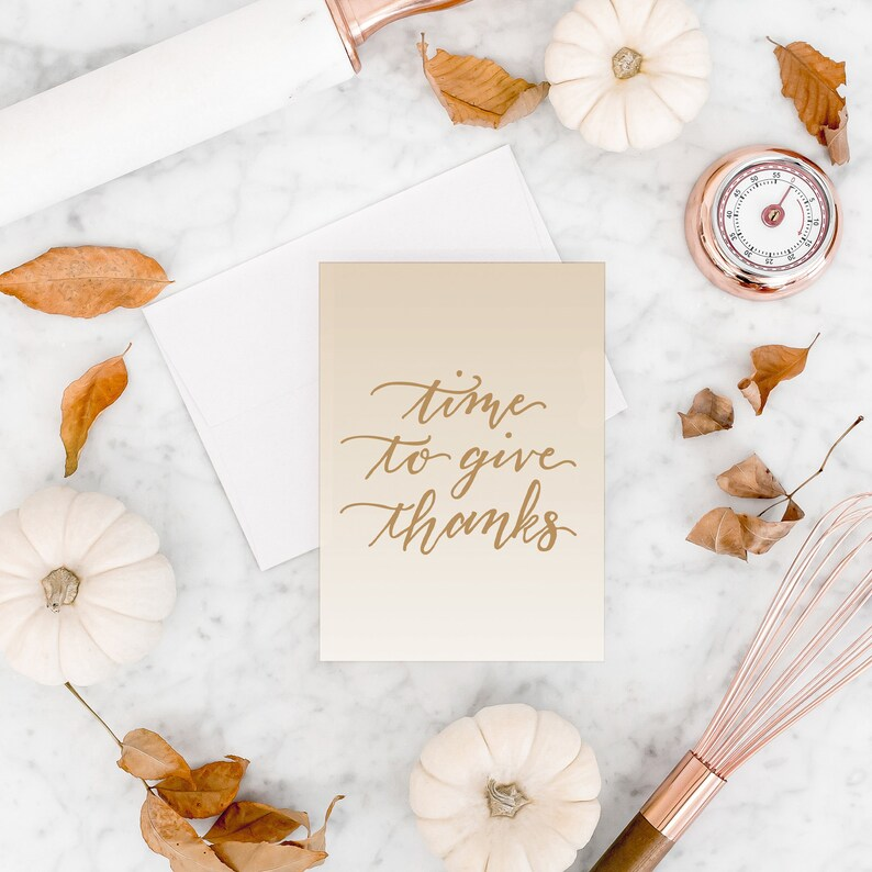 Thanksgiving Card Give Thanks Greeting Card Happy image 0