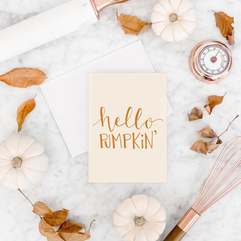 Hello Pumpkin Card Fall Greeting Card Pumpkin Halloween Card image 0