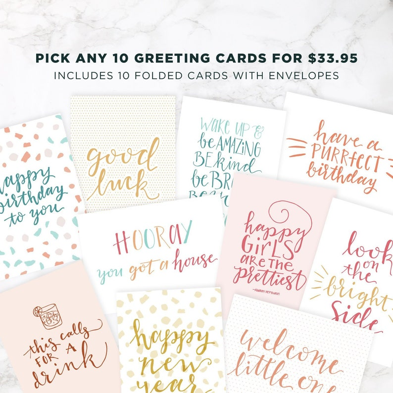 Any 10 Greeting Cards Set of Ten Greeting Cards Greeting image 0